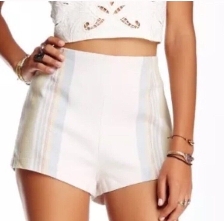 Free people Newman stripe cotton blend shorts in ivory  combo, Us 10