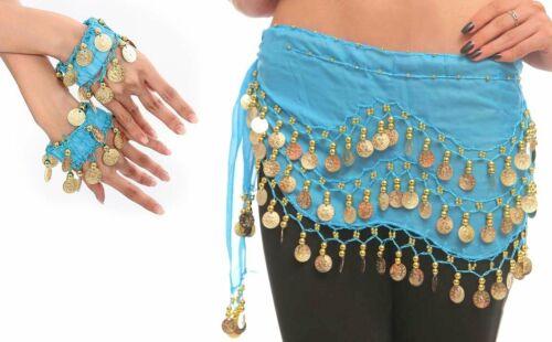 Bauchtanz Kostüm Hüftgürtel Belly Dance Tuch Karneval Münzengürtel Armband