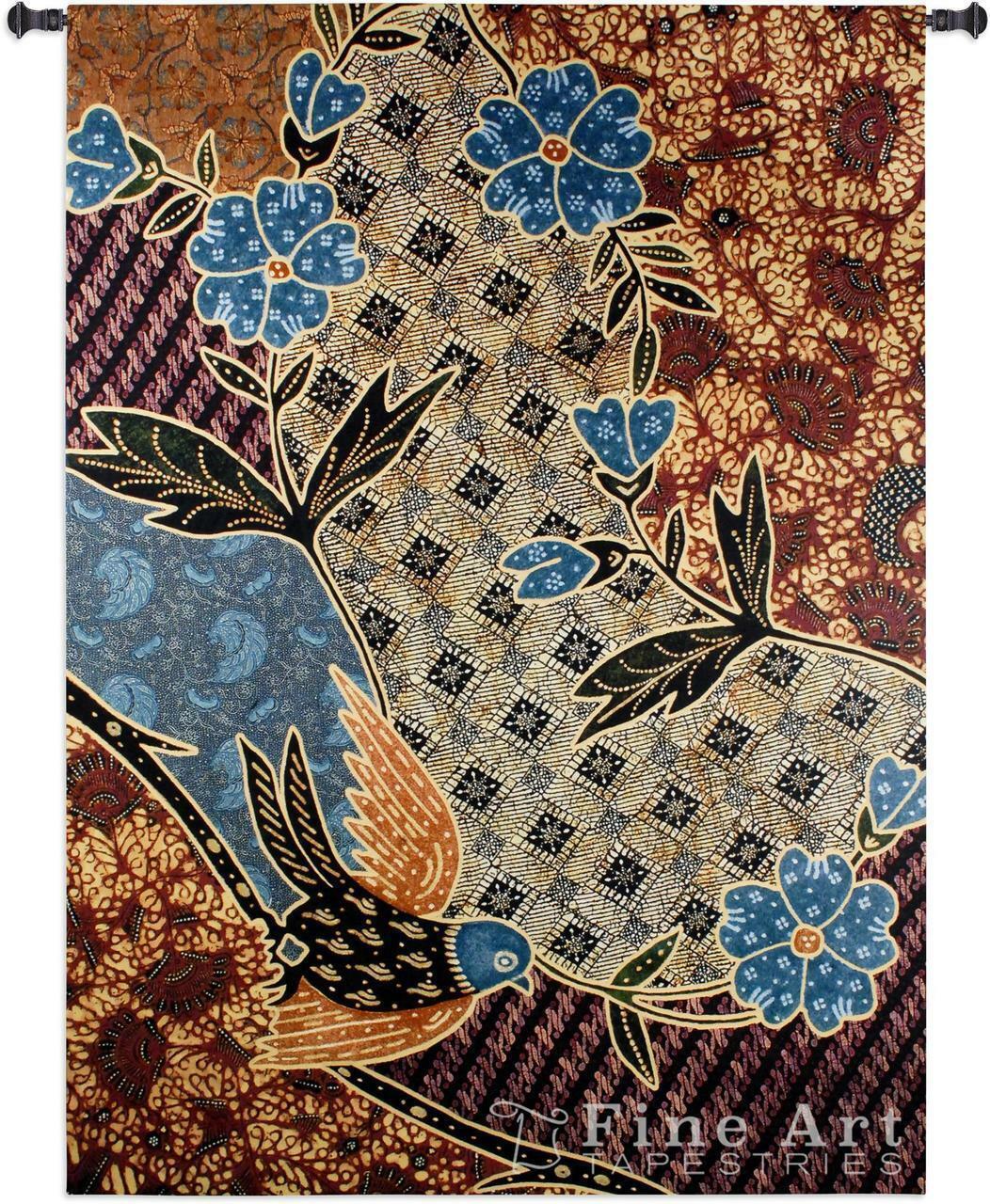 Batik Floral Tapestry Indonesian Wall Hanging Natural Textural Elements 53 x75