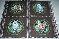 4 Wood Haven Owl Wolf Pillow Panels Fabric Cotton Wildlife