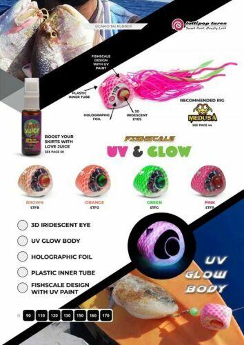 LOLLIPOP LURES /'/'SICARIO/'/' Tai Rubber Uv Glow Fishscale 90gr 170gr
