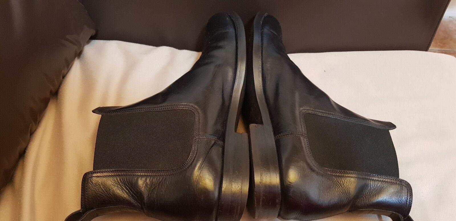 Canali Hecho En Italia Cuero Cuero Italia Negro Suave Para Hombre Botas Chelsea-tamaño 9/EU 43 6a5c03