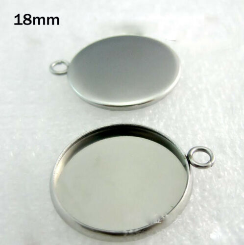 6-30mm Stainless Steel Round Cabochon Blank Bezel Base Trays For Pendants DIY
