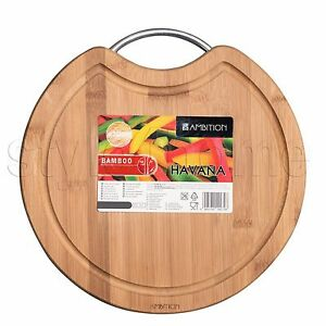 Bamboo Cutting Chopping Board With Stainless Steel Handle Wooden