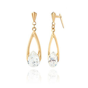 35cb4f8af 9ct yellow gold wishbone drop with crystal Andralok earrings / Gift ...