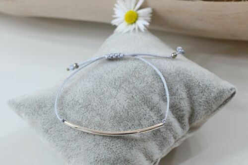 Armband Metall Röhrchen Tube silber farben Macramee Armband viele Farben Damen