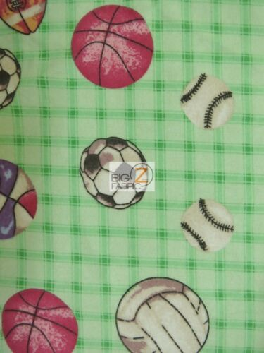 MULTI SPORTS PRINT FLANNEL FABRIC BY YARD POLY COTTON CLOTHING SOFT BABY BIBS