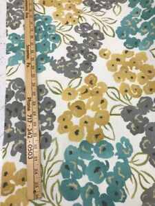 Grey-mustard-Aqua-Floral-Pattern-Upholstery-Fabric-54-Wide-3-yd-pc