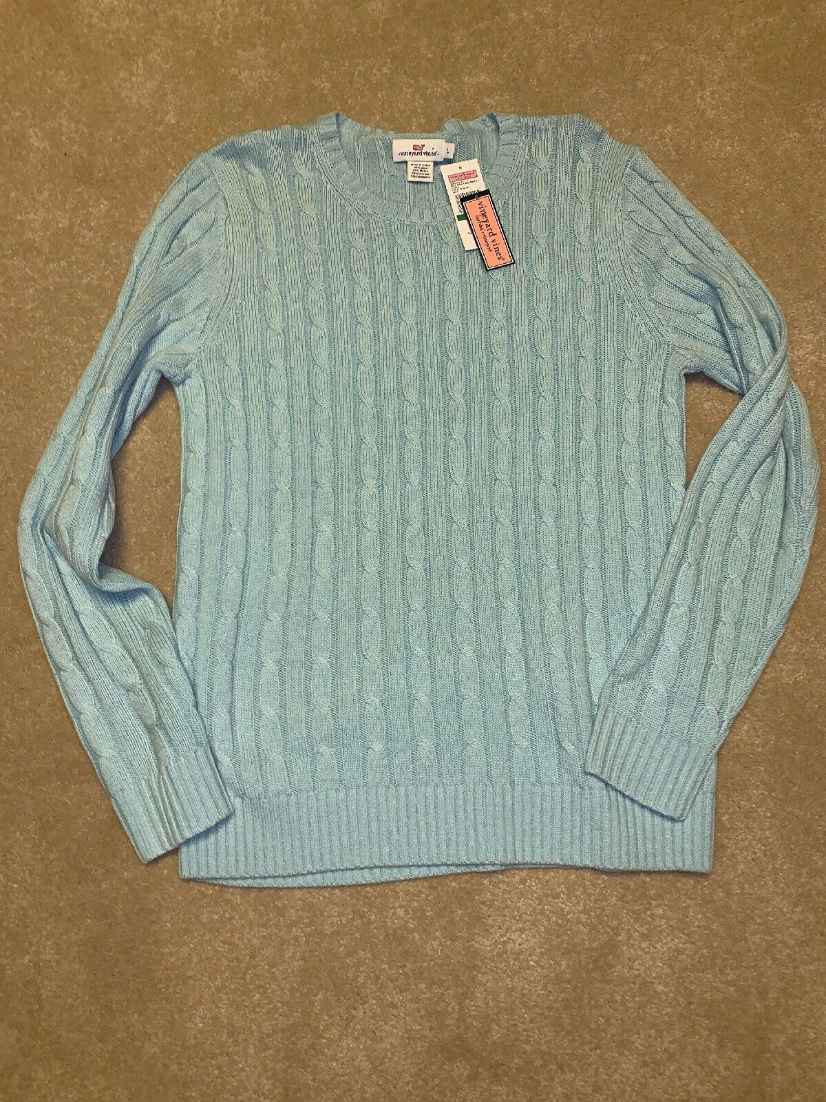 Vineyard Vines Womens Large L Wool Blend Cable Sweater Crystal bluee New Nwt