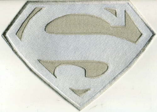7 x 10 Fully Embroidered Superman Chest Logo Patch  - White & Silver