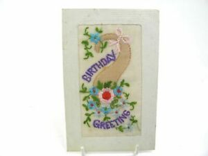 Antique-embroidered-silk-postcard-birthday-card-flowers-Birthday-Greeting
