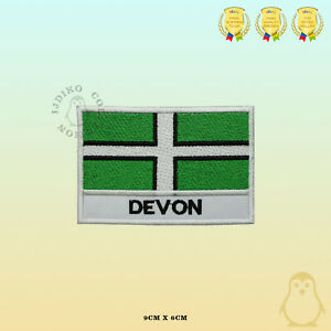 DEVON County Flag With Name Embroidered Iron On Sew On Patch Badge