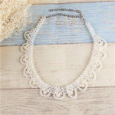 White Pearl False Collar Statement Necklace Pendant Handmade Choker Women Gift