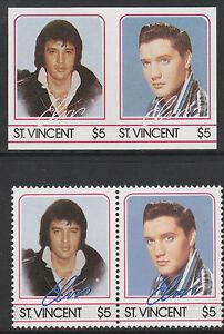 PréVenant St Vincent (2191) - 1985 Elvis $5 Imperf Paire Avec 2 Manquant Couleurs U/m