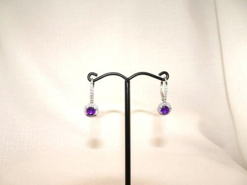 1.74ct Natural Purple Amethyst,Cubic Zirconia Sterling Silver Leverback Earrings