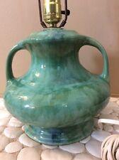 Mid Century Modern Green/Blue Drip Glaze Ceramic Table Lamp Vintage Beautiful!