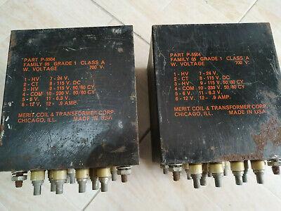 2x Merit Coil, Made In Usa, Trasformatori Alimentazione, 230, 115, 24, 6.3 V.