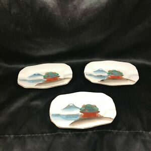 Set of 3 FUJITA KUTANI Hand Painted Porcelain Ashtrays