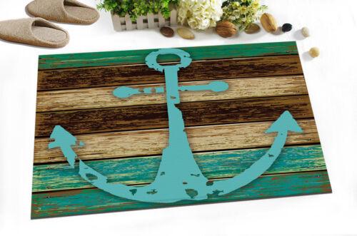 "72//79/"" Wood Board Bathroom Mat Blue Boat Anchor Shower Curtain Waterproof 4050"