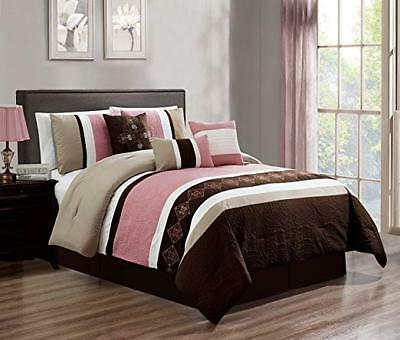 DCP 7Pcs Oversize Embroidery Bed in Bag Microfiber Comforter Burgundy Cal King