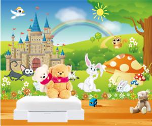 3D Schlosstier Landschaft 805 Tapete Wandgemälde Tapeten Bild Familie DE Summer