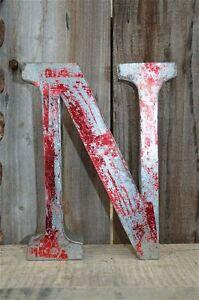Medio Stile Vintage Rosso 3D N shop sign letter TIN Wall Art lettera font