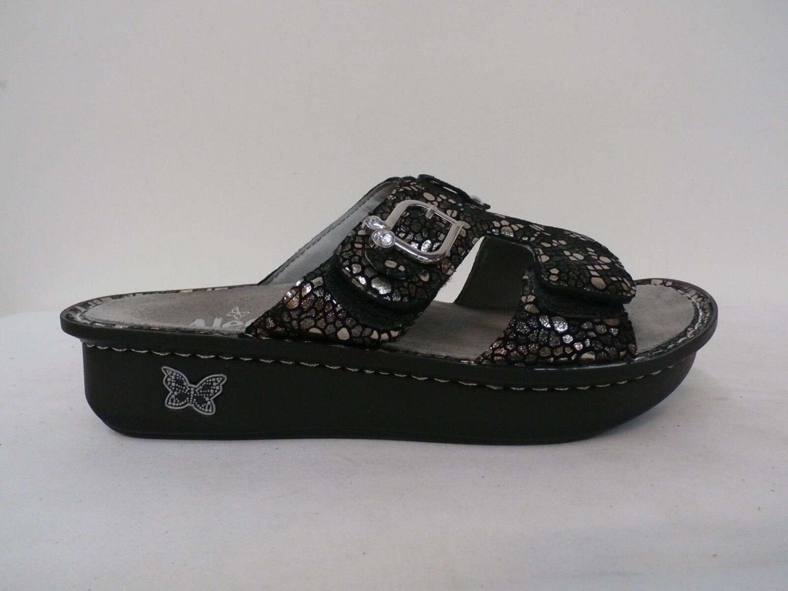 Alegria Leather Adjustable Slide Sandals - Peggy PEWTER MOSAIC Size 37 (7-7.5)