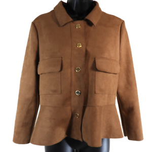 Ivanka-Trump-Brown-Faux-Suede-Gold-Snap-Down-Jacket-Women-039-s-Size-Small