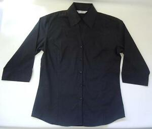 Biz-Collection-Women-039-s-Black-Industry-Shirt-3-4-Sleeve-Size-10