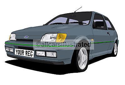 Personalise It Size A3 Fiesta Xr2 Mk1 Graphic Art Print Automobilia Car Art Posters