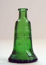 Wheaton Liberty Bell Bottle Green Glass 3 Inch Mini Miniature Vintage