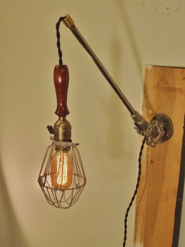Wall Mount Trouble Lamp with Arm Vintage Industrial Cage Lamp Sconce