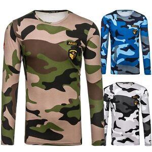 BOLF-Uomo-Maglietta-maniche-lunghe-felpa-pullover-ESERCITO-motivo-1A1-Mimetici