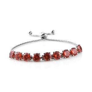 Steel-Cubic-Zirconia-CZ-Orange-Elegant-Adjustable-Bolo-Bracelet-for-Women-Ct-21