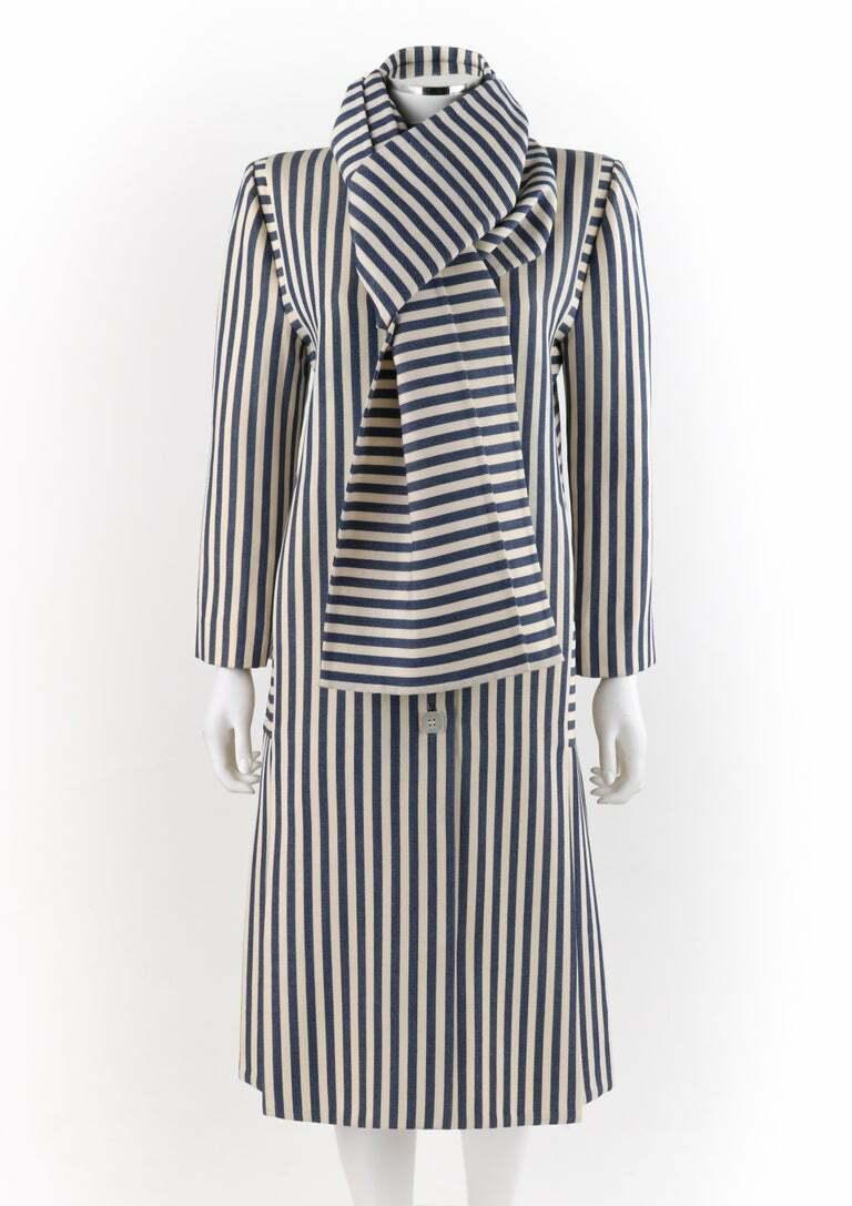 PAULINE TRIGERE c.1980's Blue Ivory Striped Pleat… - image 2