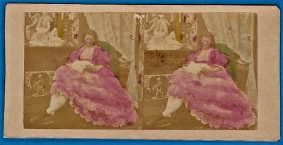 early tinted tissue stereoview photo Granada Spain ca 1860
