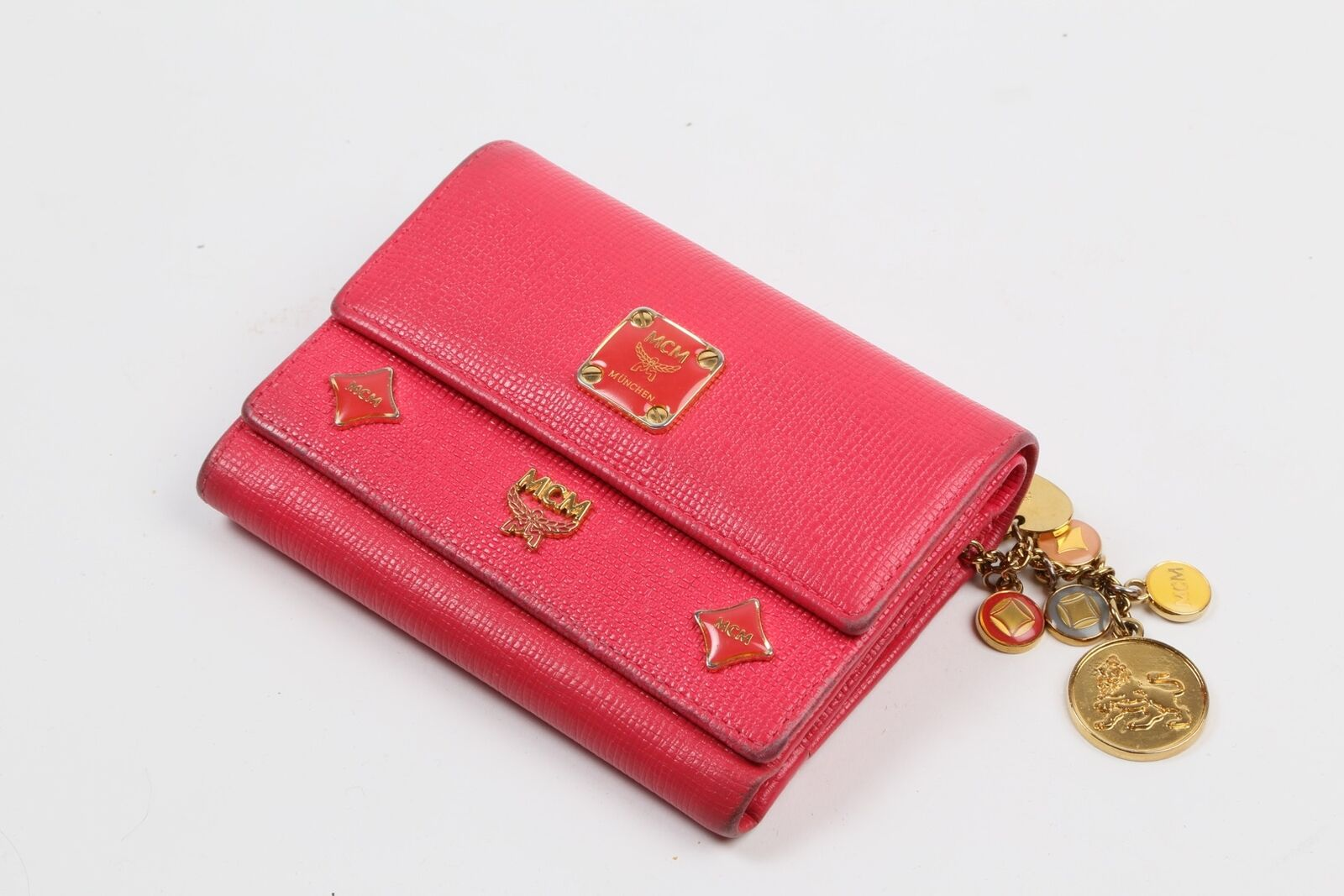 MCM Pink Leather Trifold Wallet