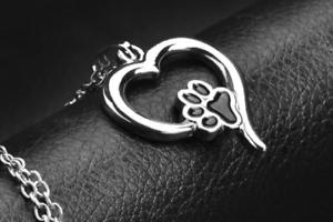 Schmuck-Halskette-Herz-mit-Pfotenabdruck-Hund-Katze-Anhaenger-Tatze-Liebe-Herz