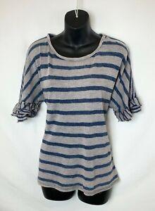 Lucky-Brand-Women-039-s-Blue-amp-Tan-Striped-Sweater-Short-Ruffled-Sleeves-Sz-L-NWOT