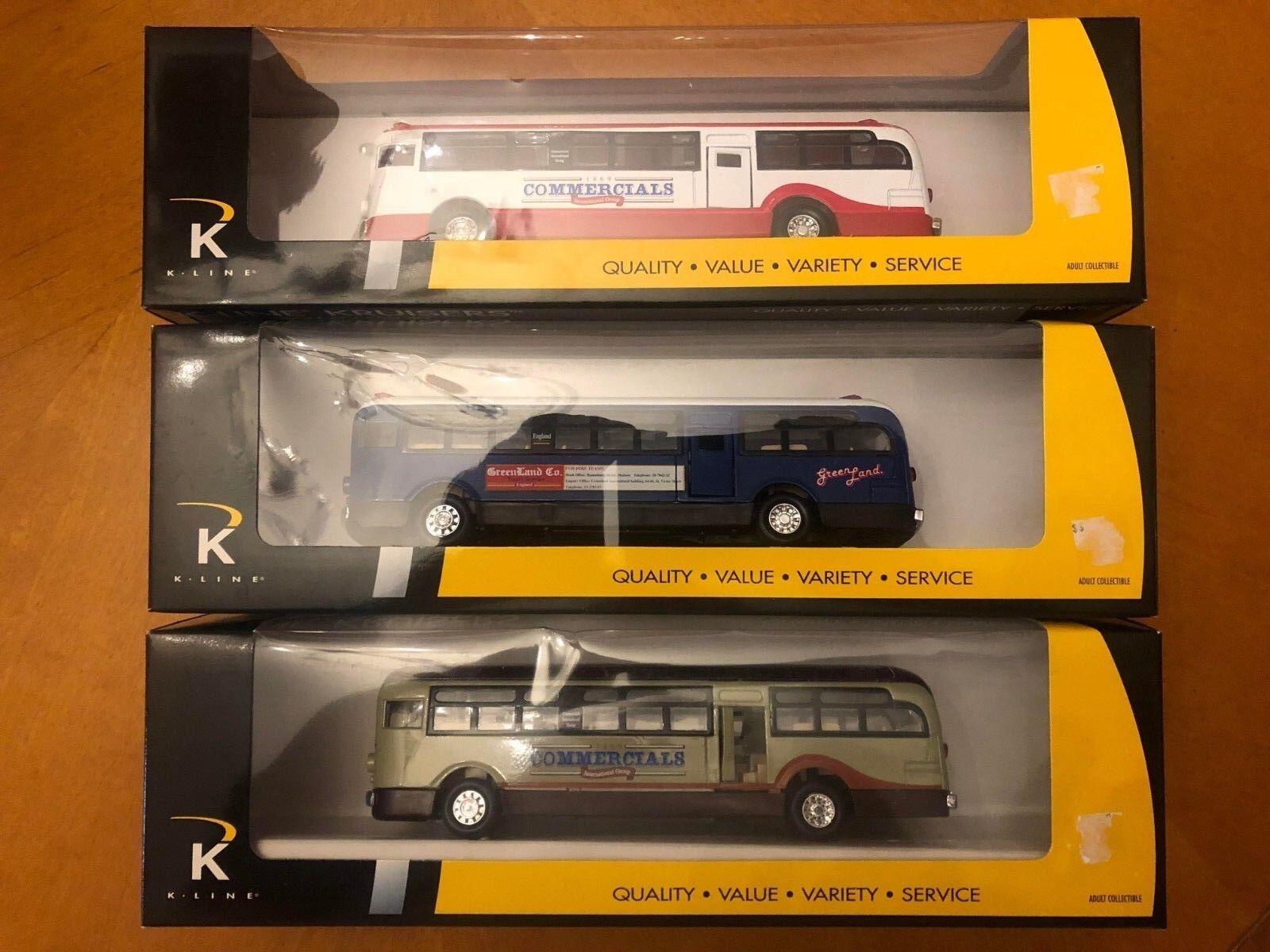 Conjunto de 3 K-line Trains Die Cast buses-nos-Nuevo En Caja