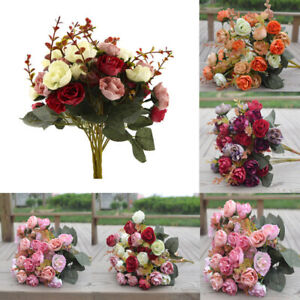 2-Bouquets-42-Head-Artifical-Rose-Silk-Flower-Bouquet-Home-Wedding-Decor-New