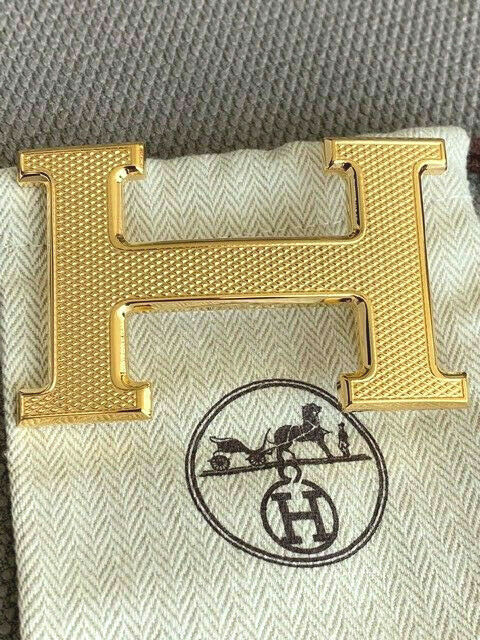 38MM Hermès Belt Buckle Gold Guilloche Original Merchandise Belt Buckle