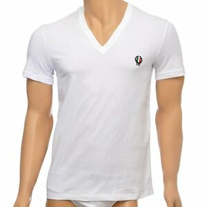 Dolce-amp-Gabbana-Sport-Crest-Deep-V-Neck-Stretch-Cotton-T-Shirt-White