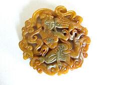 Jade Schnitzerei Amulett aus China Tempeltänzerin 7cm Durchmesser
