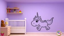 Wall Sticker Baby Unicorn With Lashes Coolest Decor For Kids  z1448