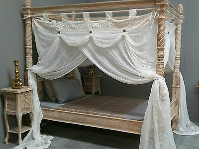 Four Poster Bed Canopy Deluxe Mosquito Net Cream Large King Single 125cmx220cm