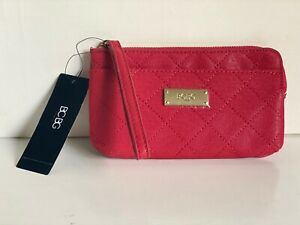 NEW-BCBG-PARIS-LIPSTICK-RED-WALLET-CLUTCH-POUCH-WRISTLET-BAG-48-SALE