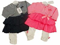 Baby Girls 3 Piece Outfit Clothes Dress Leggings And Bolero Pink Or Navy