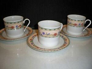 CHERRY-VALLEY-ONEIDA-TABLE-TRENDS-DINNERWARE-3-CUPS-AND-3-MATCHING-SAUCERS