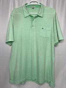 Peter-Millar-Mens-XL-Green-Polo-Shirt-Short-Sleeve-Striped-Crown